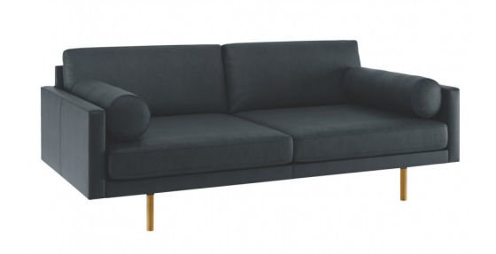 Habitat Spencer leather sofas for small spaces in blue leather