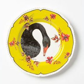 Lou Rota Swan Plate with yellow and red border