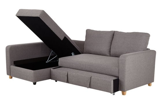 The M&S LOFT range Tromso corner storage sofa bed for small spaces