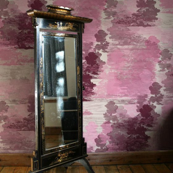 Pink Cloud Toile Wallcovering by Timorous Beasties