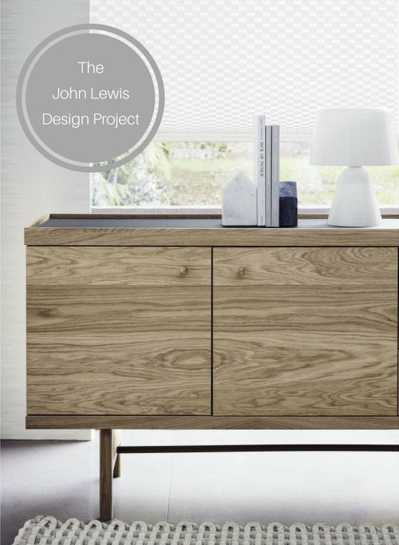 John Lewis Design Project oak sideboard, glass lamp and accessories