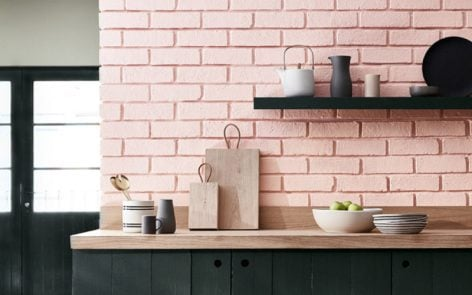 pink kitchen wall in Confetti by Little Greene