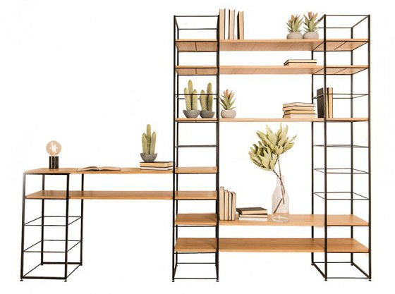Heal's Tower Modular Shelving Unit, contemporary wood and powder coated steel modular storage units