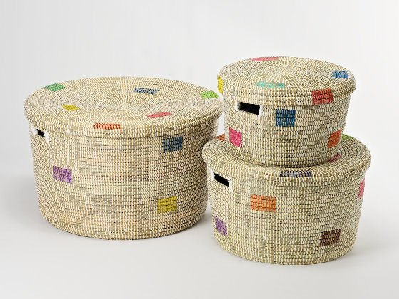 Handwoven round decorative home storage baskets with lids by Artisanne
