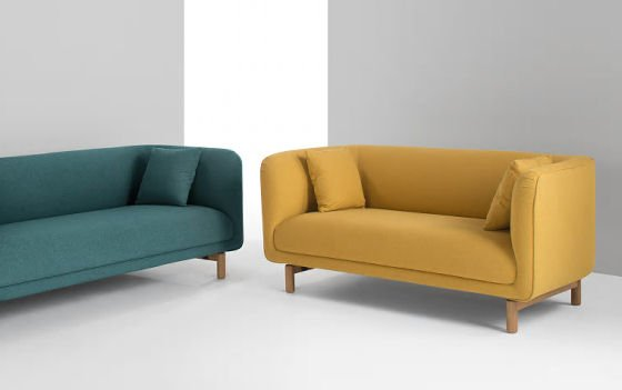 Tribeca sofas for small spaces in blue and yellow