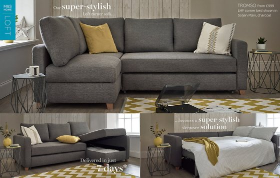 Grey fabric Tromso Corner Sofa Bed for small spaces in modern room setting