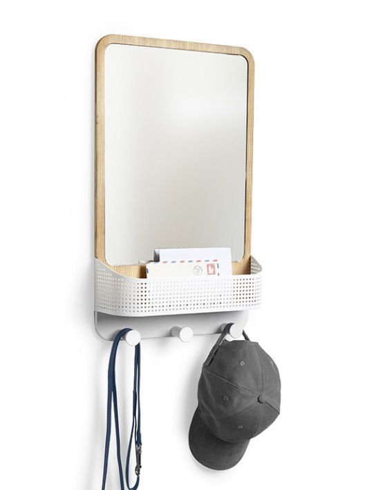 Contemporary rectangular mirror with shelf and hooks by Umbra