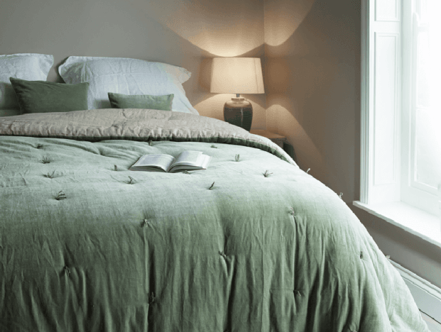 Sage Green Velvet Quilt by Cox and Cox