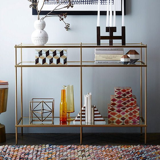 Terrace glass console table with storage