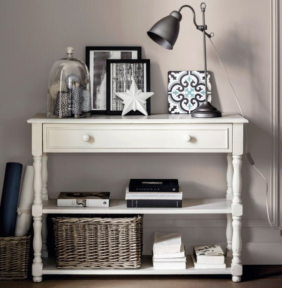 Nottingham console table with storage in white with contemporary monochrome styling