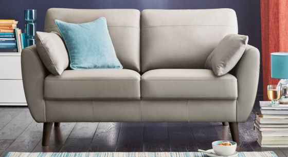 Wilson cream leather compact sofa for small spaces