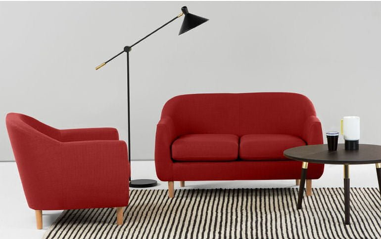 MADE Tubby compact red fabric sofa for small living rooms