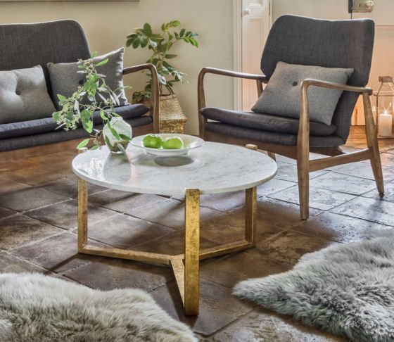 Graham annd Green small round Agate Natural White Marble Coffee Table in Scandi style room setting