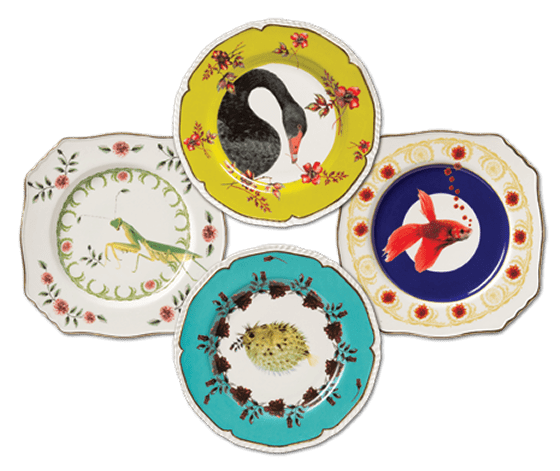 Four vintage style dessert plate with brightly coloured animals