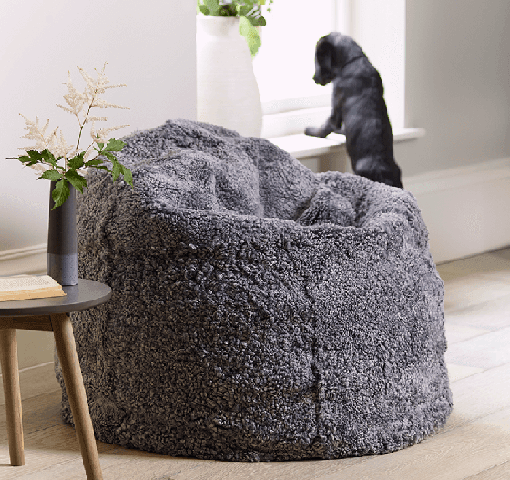 Luxe Grey Curly Sheepskin Beanbag from Cox and Cox
