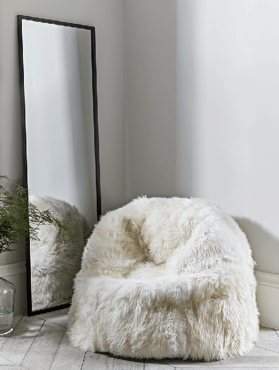 Sumptuous Sheepskin Beanbag from Cox and Cox in Ivory
