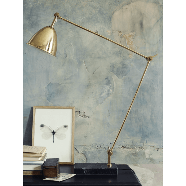 Contemporary desk lamp in brass and marble