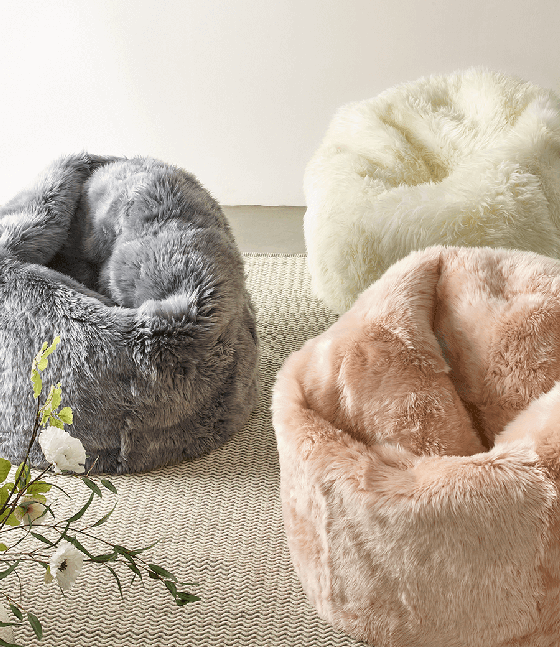 Cox and Cox Sheepskin Beanbags in Grey, Ivory and Blush Pink