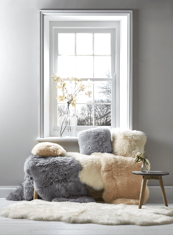 Sheepskin rugs and cushions from Cox and Cox