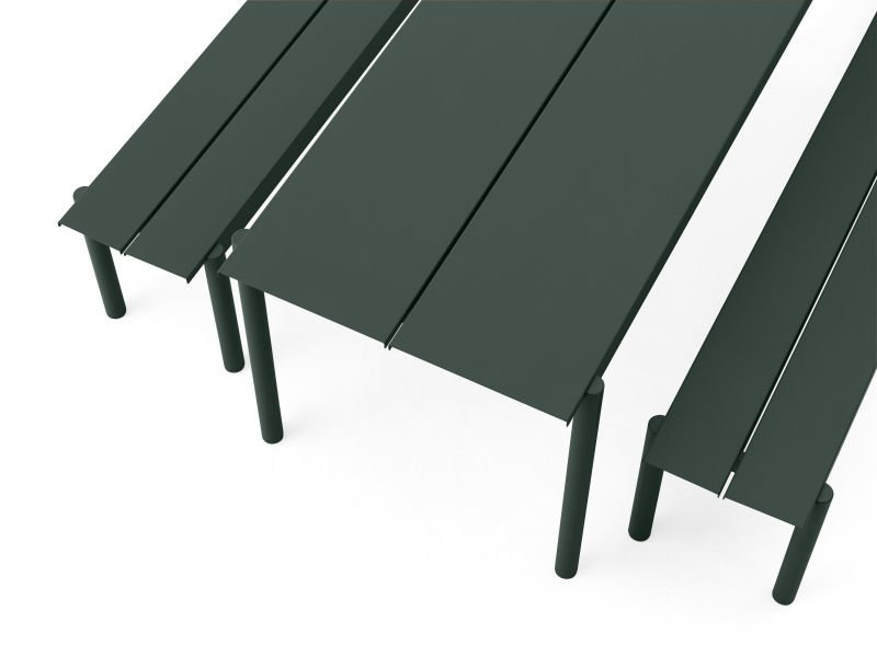 Birds eye view of the Muuto Linear garden table and two benches in dark green