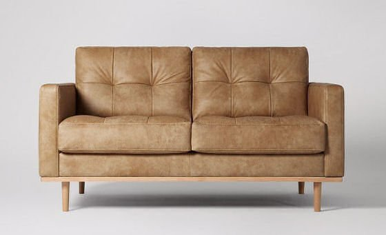 Berlin Tan Compact Leather Sofa for Small Spaces