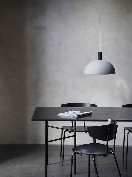 Collect Lighting by Ferm Living black and grey contemporary pendant light over black dining table