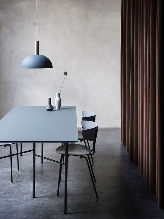 Collect Lighting contemporary pendant light in brass and blue in contemporary dining room
