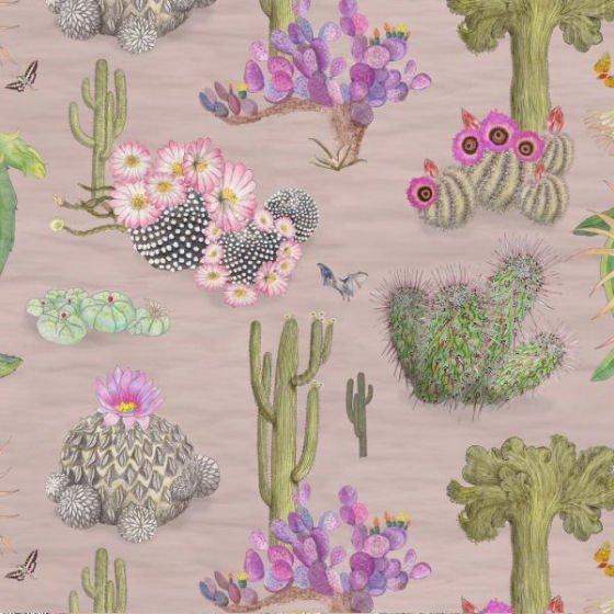 Newton Paisley Cactus Mexicanos linen fabric - pink