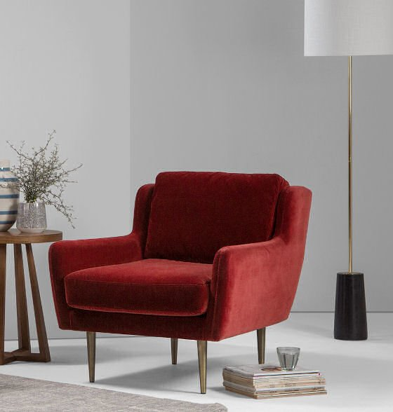Simone red velvet compact armchair for small spaces