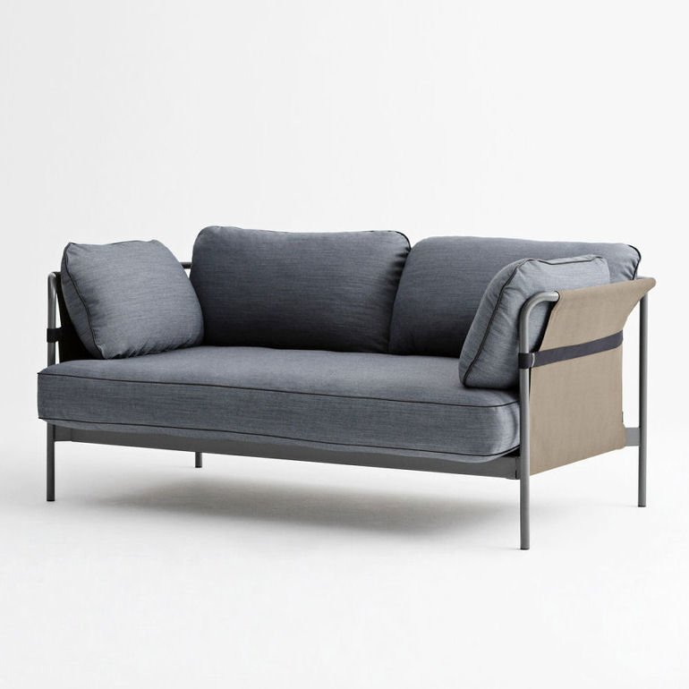 Contemporary fabric grey sofa by Hay, Can 2-seater sofa by Hay
