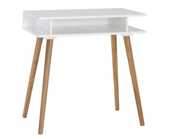 White and oak contemporary home desk for small spaces