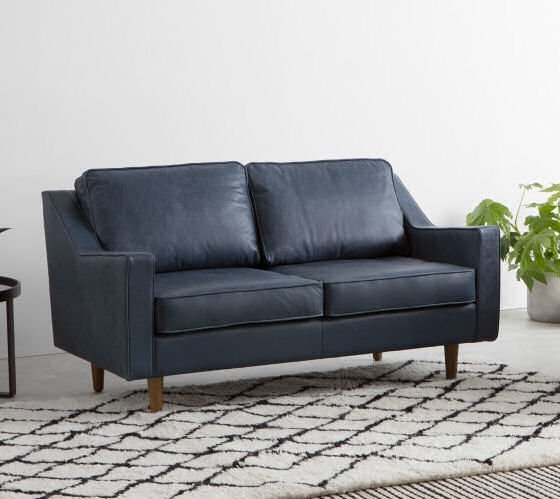 MADE Dallas compact leather sofa for small spaces in blue leather