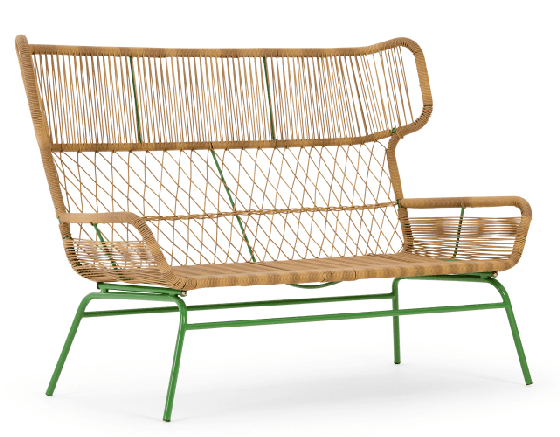 Lyra rattan garden sofa with green metal frame