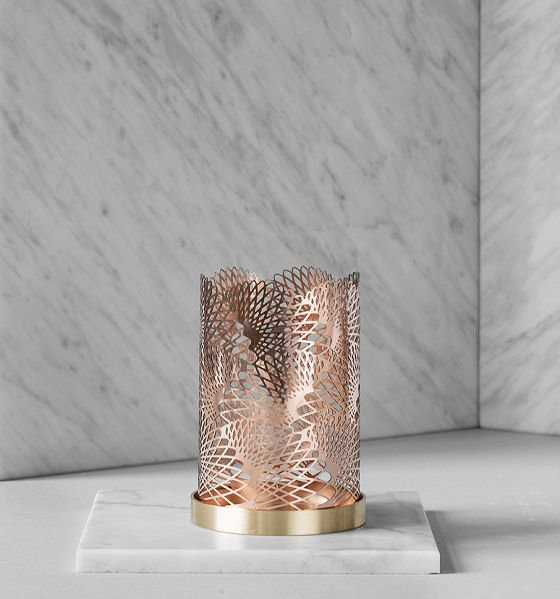 Skultuna Feather brass candle holder - the London Collection