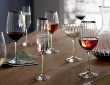 Croft Collection contemporary champagne glasses, flutes and saucers from John Lewis & Partners