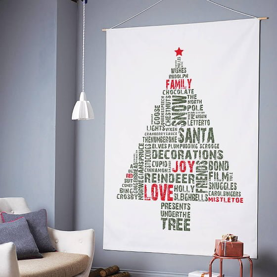 Graphic print contemporary Christmas Tree Wall hanging in red and green