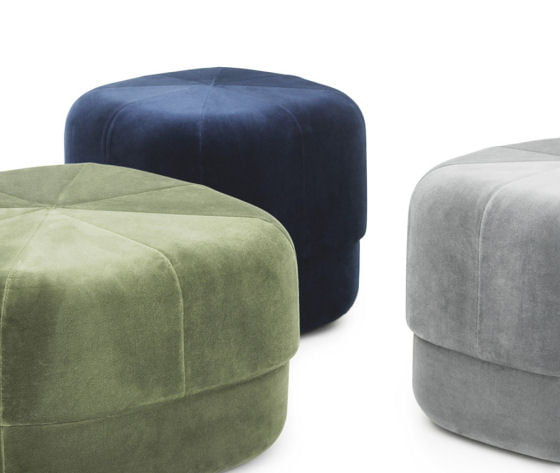 Detail of Circus Velour Poufs in grey, blue and green velvet