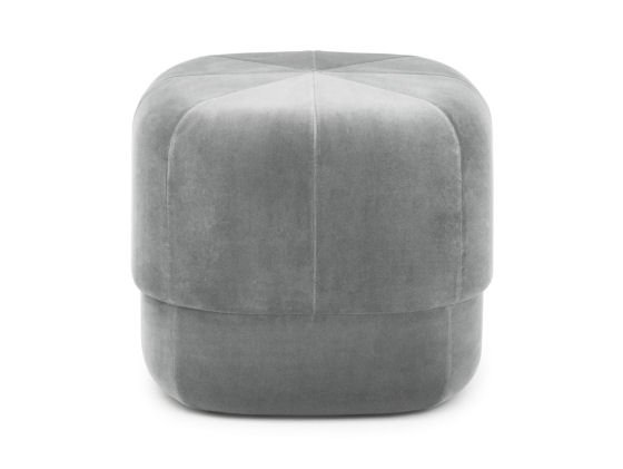 Grey Circus Velour Pouf by Normann Copenhagen