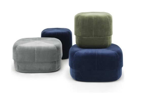 Circus Velour Poufs in grey, blue and green velvet
