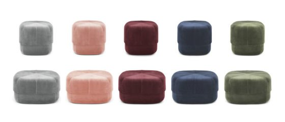 Circus Velour Poufs in grey, blush, red, blue and green velvet