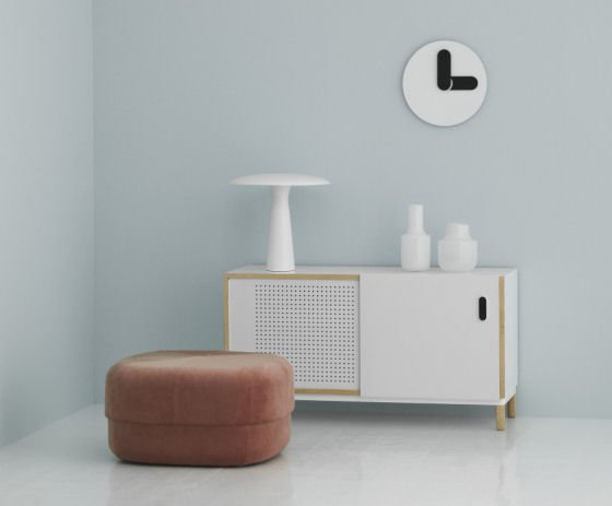 Blush Pink Circus Velour Pouf by Normann Copenhagen