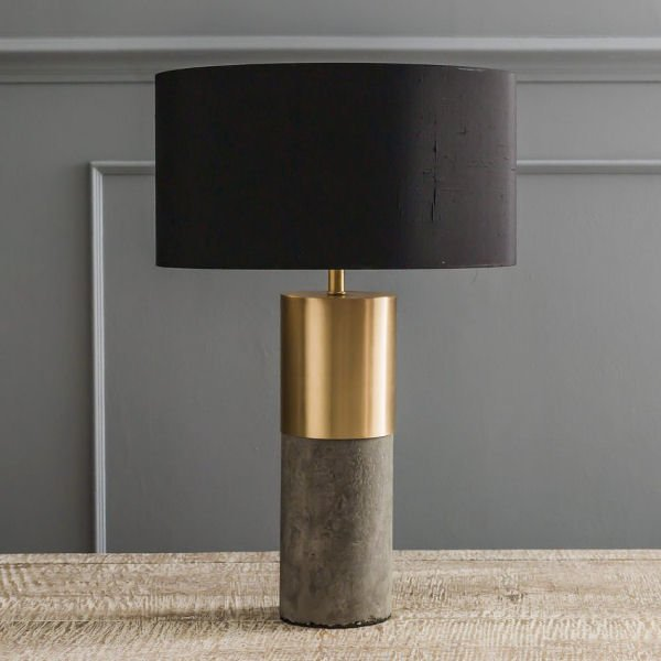 Contemporary concrete table lamp with brass detailing