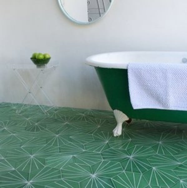 Green Dandelion design floor tiles by Marrakech Design
