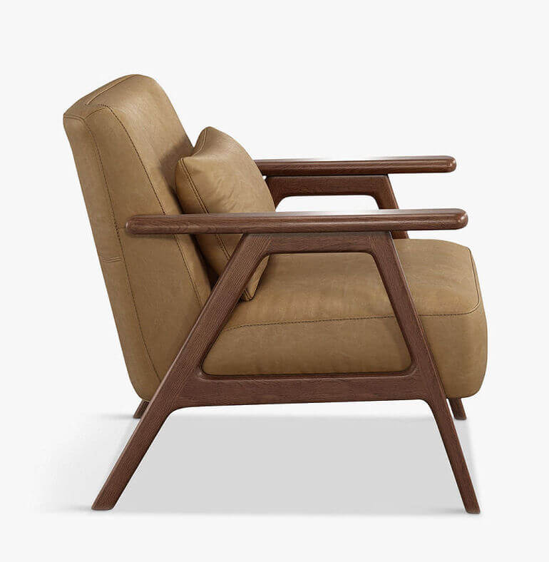 Mid-century style leather armchair with oak frame and tan leather upholstery