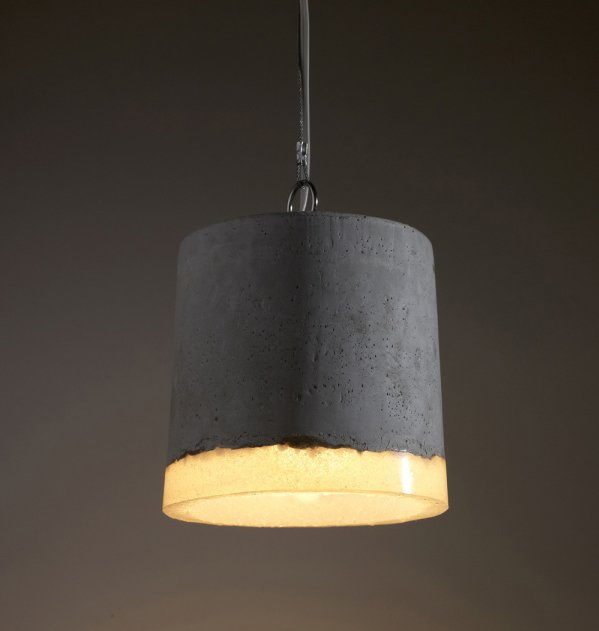 Concrete and silicone pendant light by Renate Vos