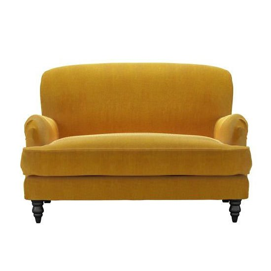 Yellow snuggler armchair, Snowdrop Loveseat from Sofa.com in yellow cord