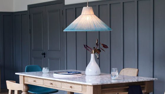 Nipped Pendant Light and Cooks Table by Heal's