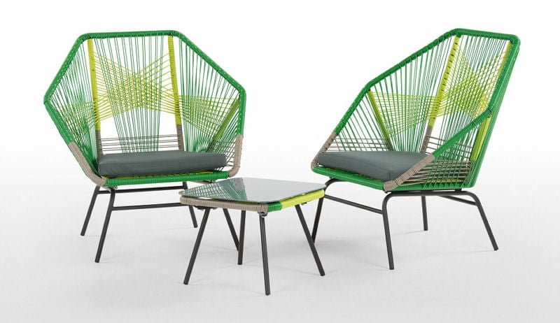MADE Copa Outdoor Furniture - Aperitif Set with 2 outdoor armchairs and low table