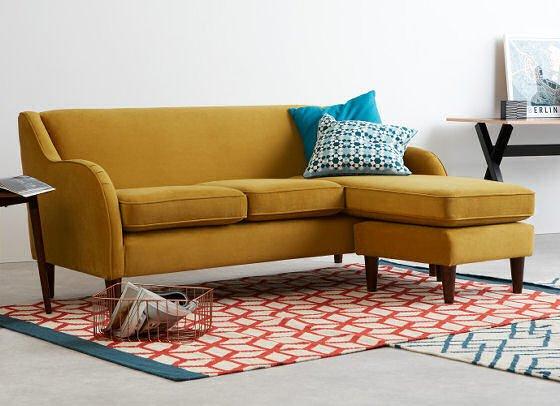 Helena contemporary corner velvet sofa in Turmeric yellow velvet