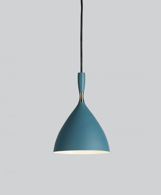 Blue and brass Dokka contemporary pendant light with black flex